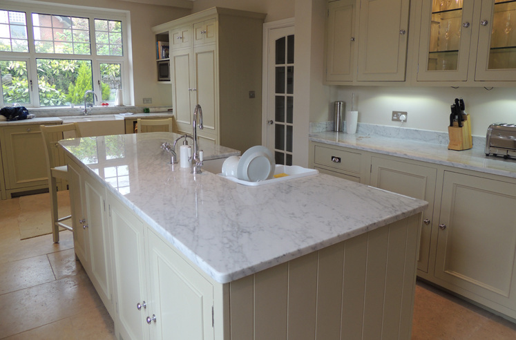 Bianca carrara natural marble worktop installation