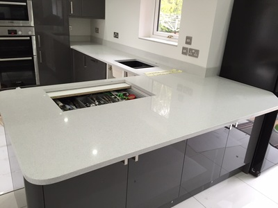 Starlight White Quartz worktops by The Marble Warehouse ...