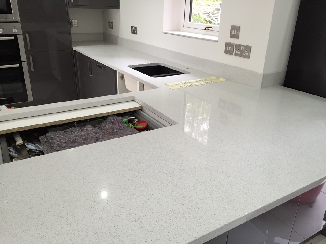 Starlight White Quartz Worktops By The Marble Warehouse